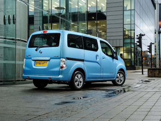 Nissan e-NV200 rear view on road