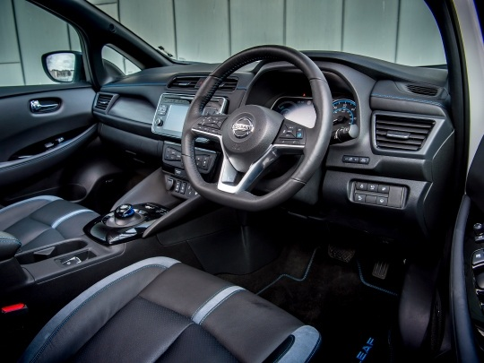 Nissan LEAF interior view dashboard seating