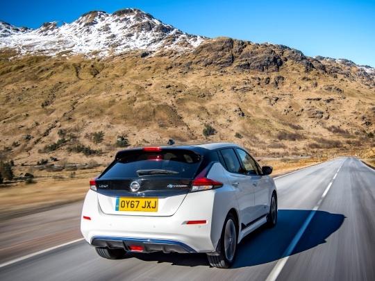 Nissan LEAF rear view on road