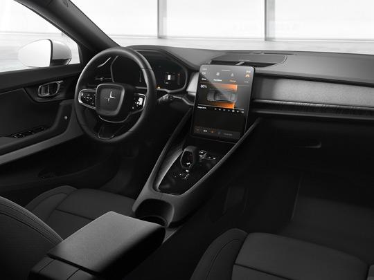 Polestar 2 in white interior console shot