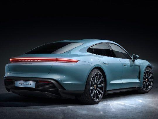 Porsche Taycan rear shot in blue
