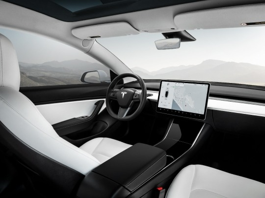 Tesla Model 3 interior view console