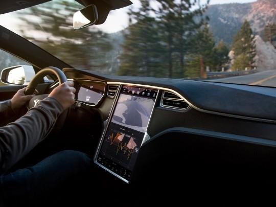 Tesla Model S interior view console