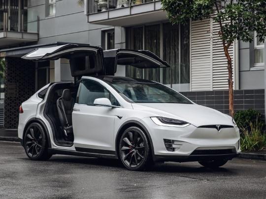 Tesla Model X front view falcon doors