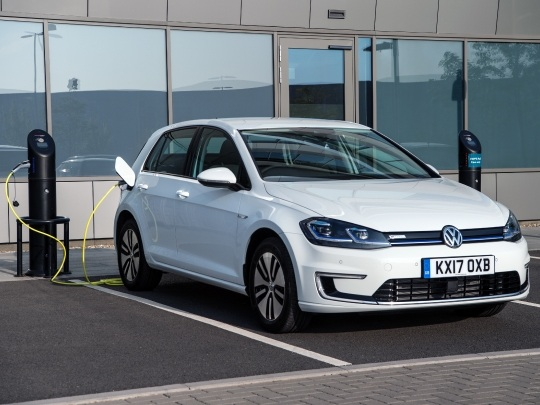 VW e-Golf front view parked charging