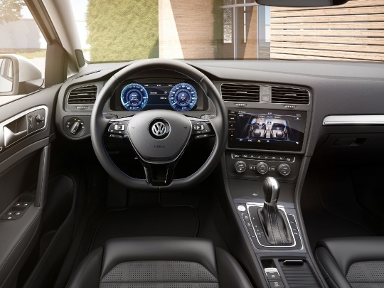 VW e-Golf interior dashboard seats steering wheel
