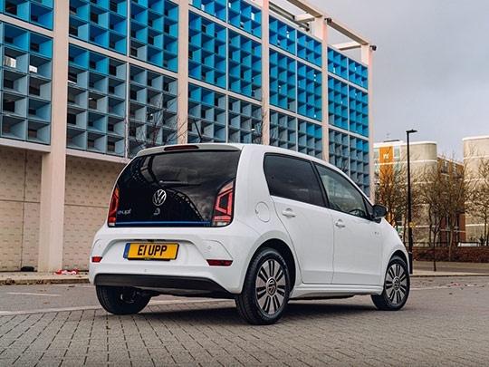 VW e-Up in white rear shot
