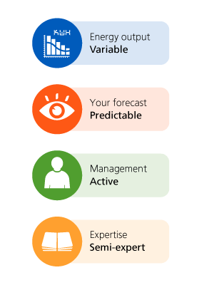 Energy output: variable, your forecast: predictable, management: active, expertise: semi-expert