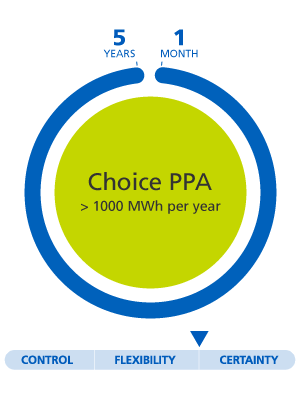 Choice PPA superior to 1000MWh per year, 1 month to 5 years between flexible and certainty