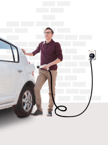 Man charging his electric car