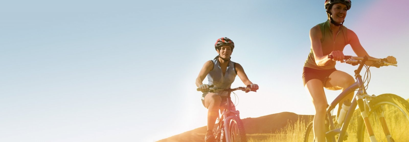 Woman on a mountain bike in the country