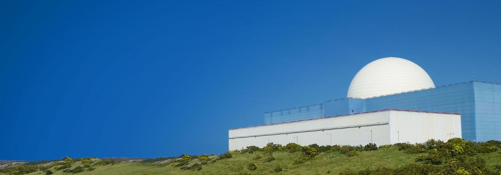 Picture of a nuclear power station in clear blue sky