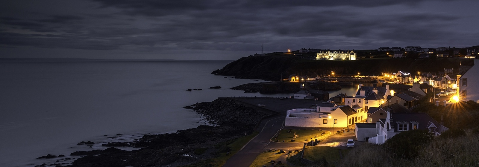 Picture of seaside town at dusk