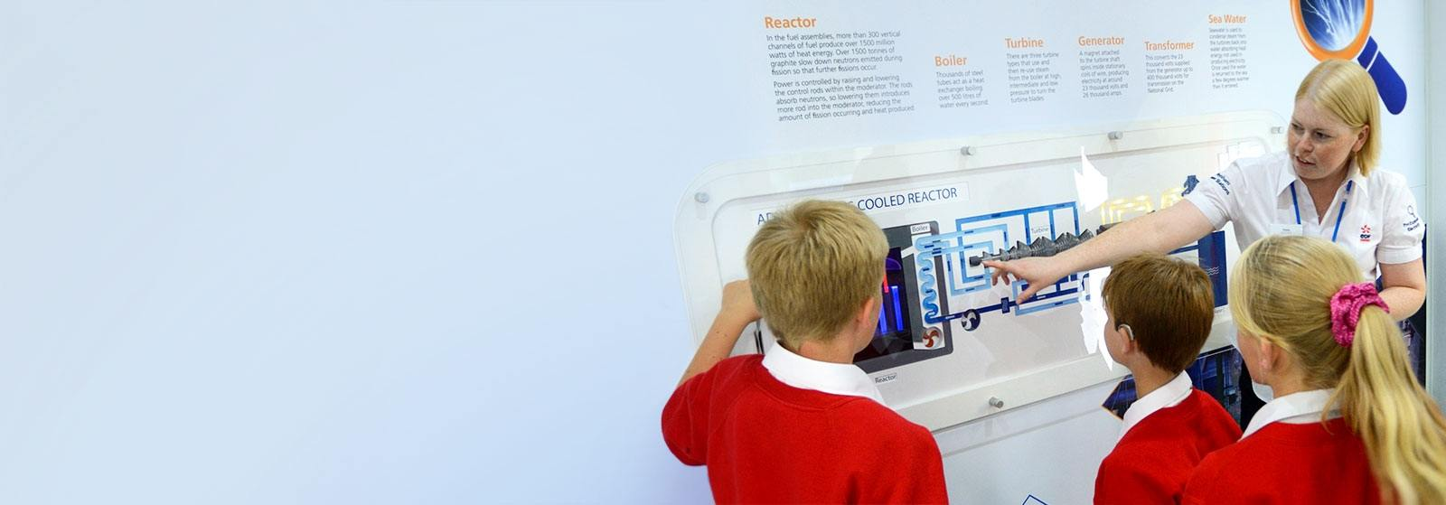 School children in an EDF Energy nuclear power station visitor centre