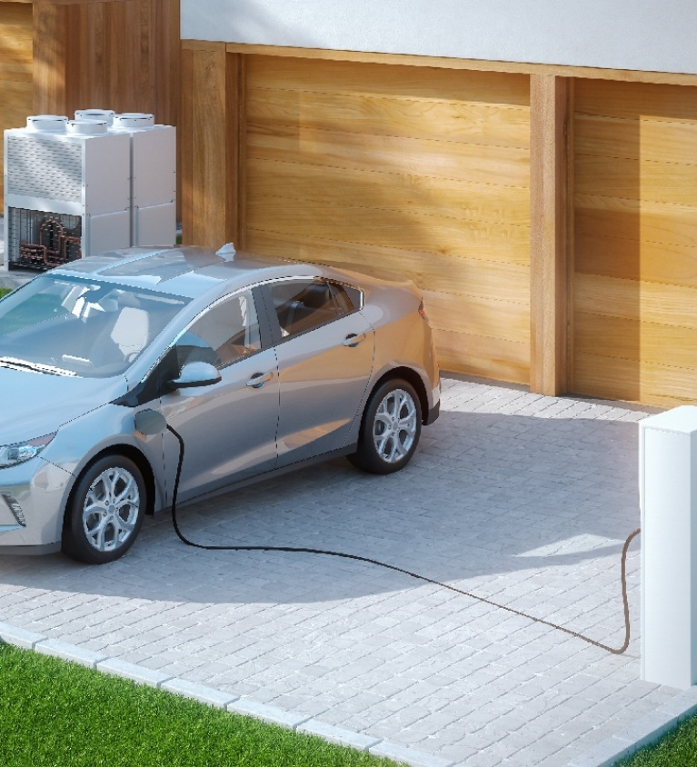 Electric car charging point for a new home