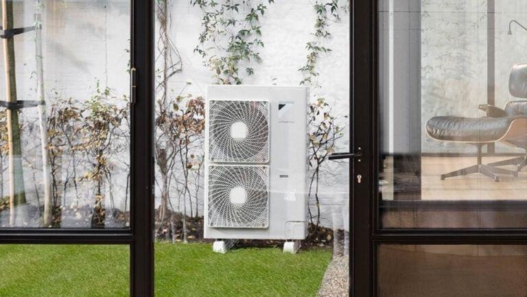 air source heat pump in a garden