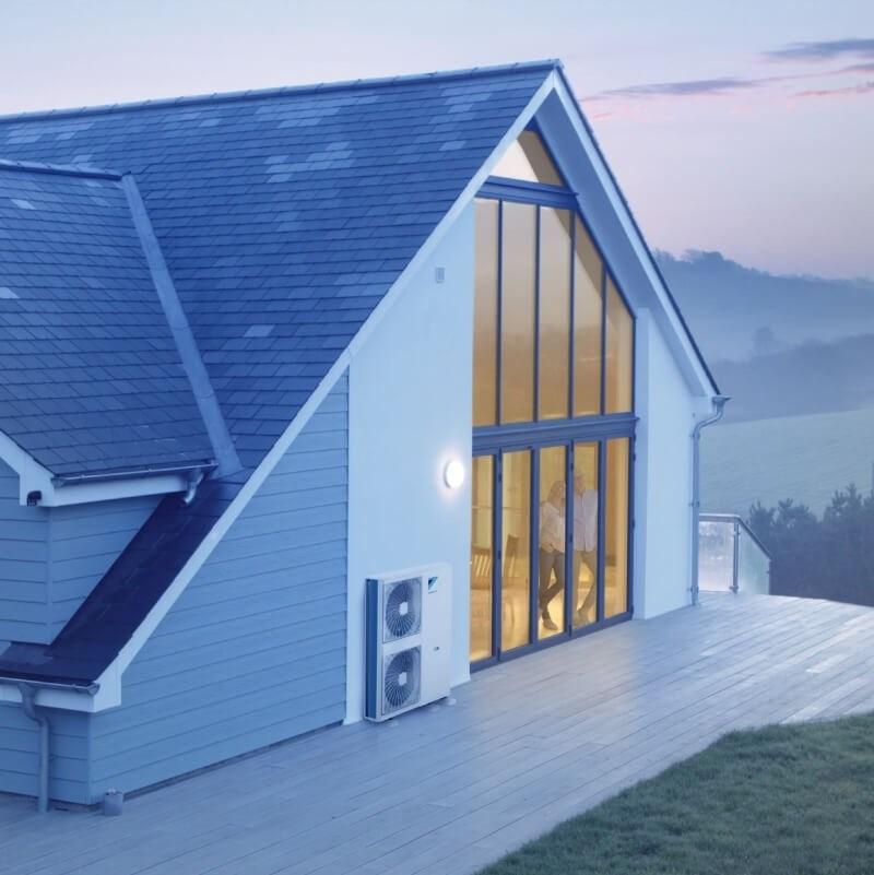 air source heat pump modern house