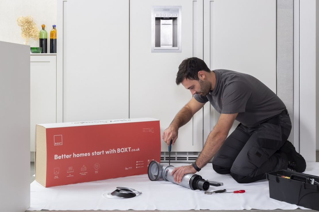 A new boiler being installed by an engineer