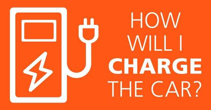 Icon of a charger and text saying how will I charge the car on orange background