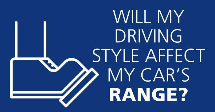 "Icon of a foot on driving pedal and text saying ""Will my driving affect my car's range?"" on a blue background"