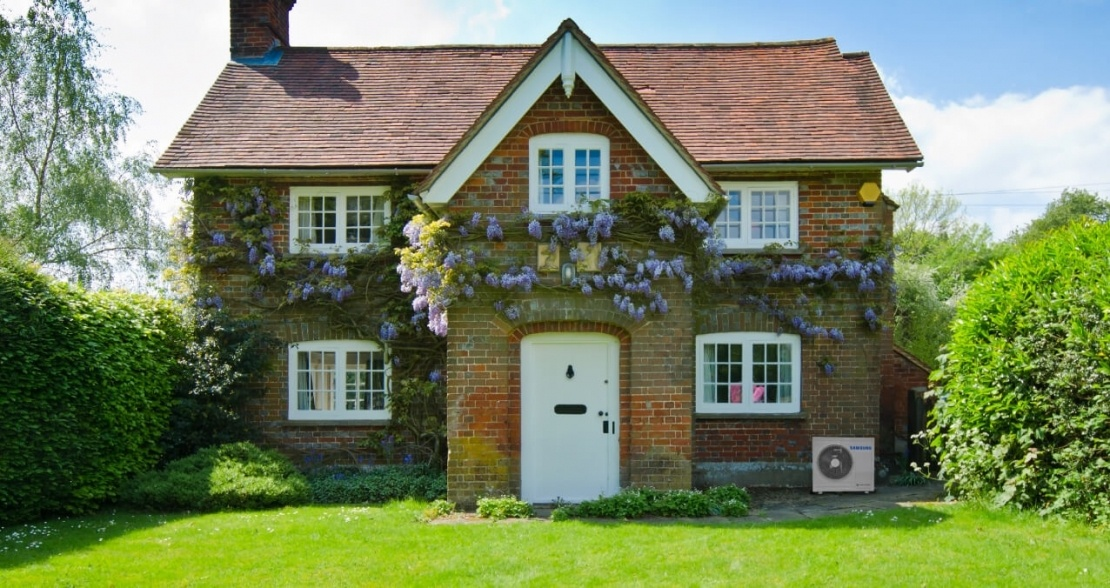 country house with hybrid air source heat pump