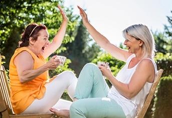 friends celebrating outside