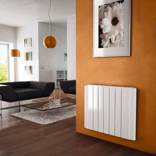 Electric heater on a wall