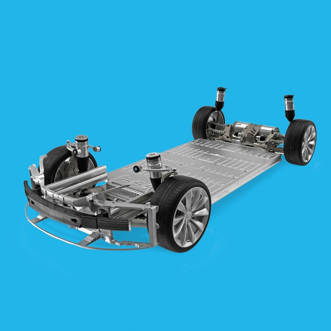 electric car battery base on blue background