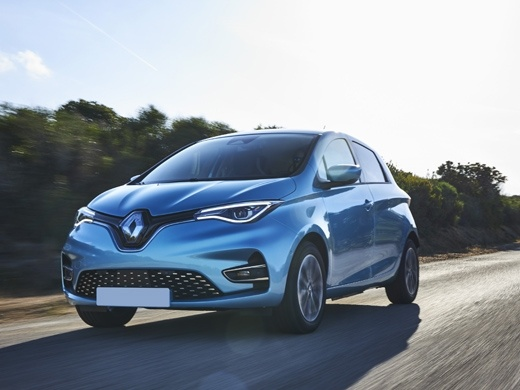 renault zoe in blue driving on road