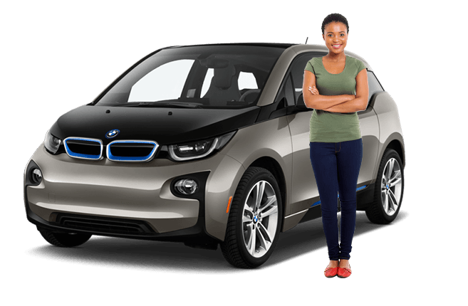 Woman standing in front of a parked BMW i3