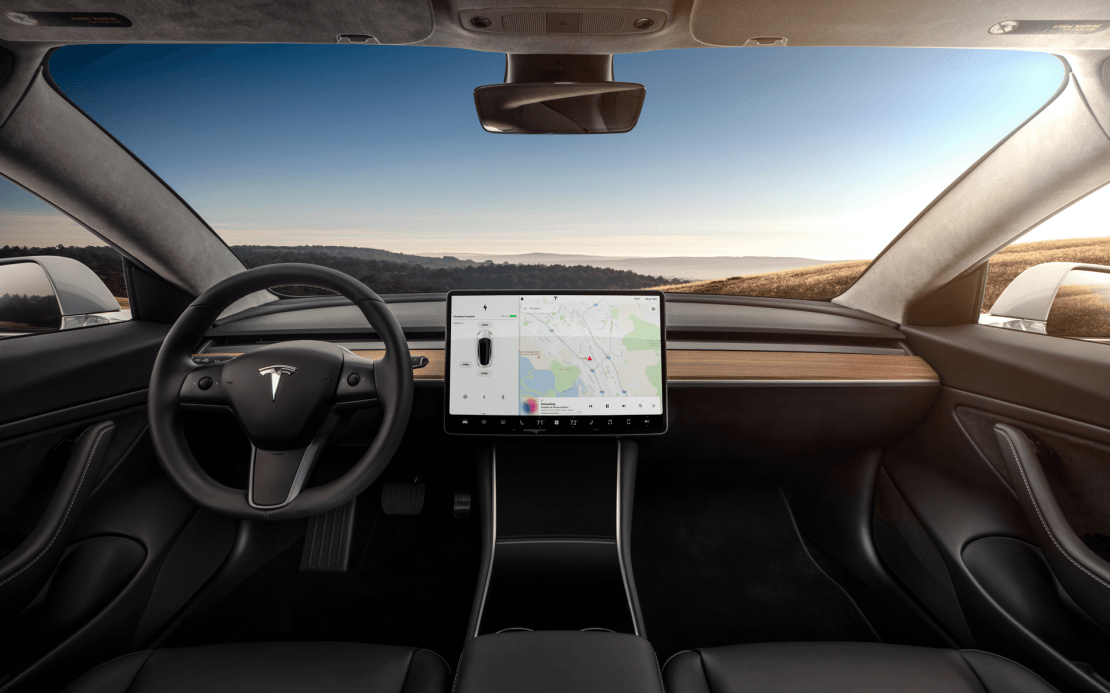 Tesla model 3 interior dashboard head on