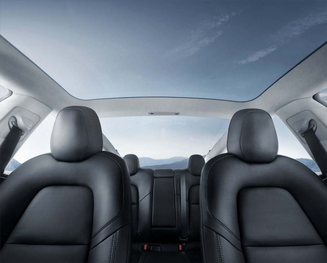 tesla model 3 interior with glass panoramic roof