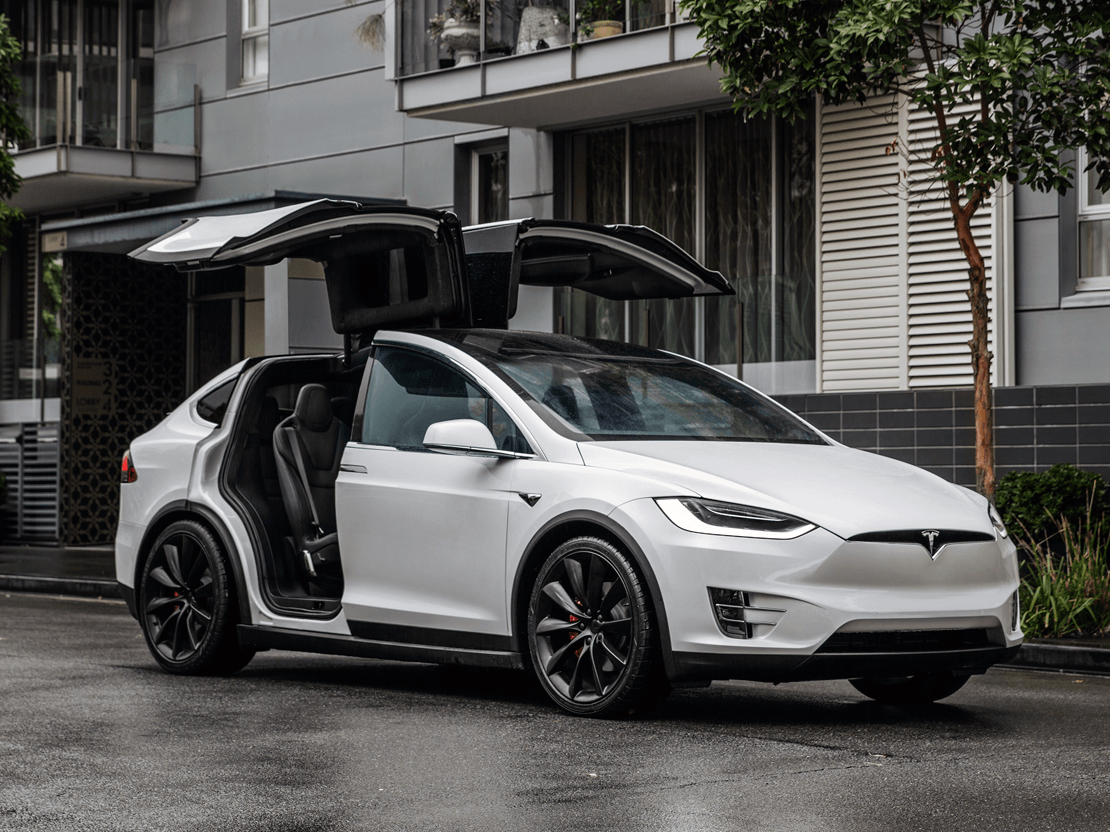 tesla model x parked city falcon wing