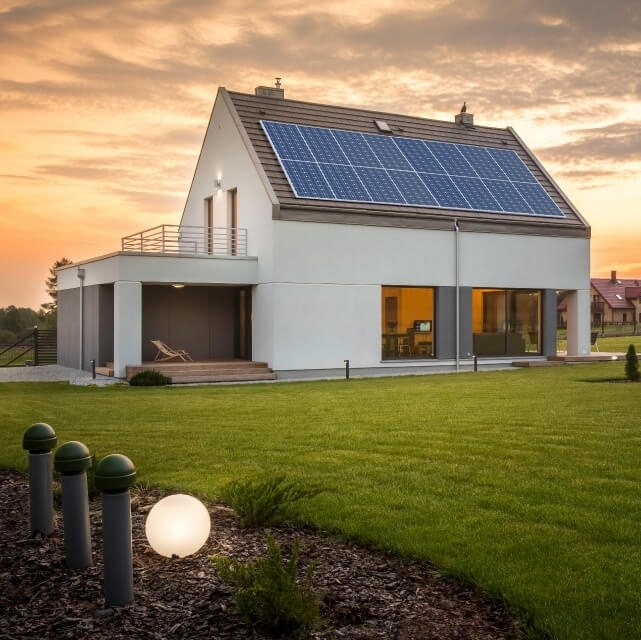 modern home with solar panels installed