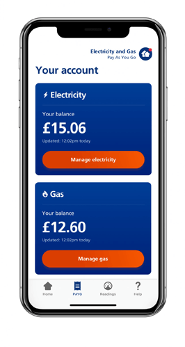mobile app screen showing the balance left on your Pay As You Go meter