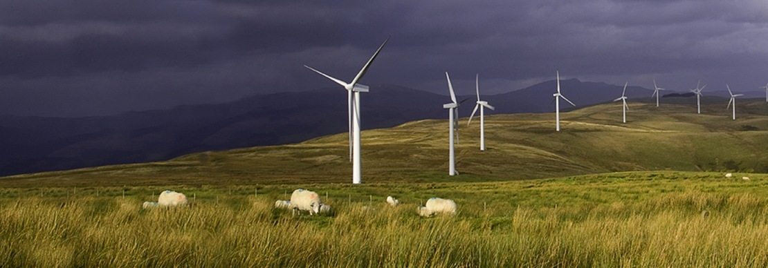 Picture of wind turbines in the countryside
