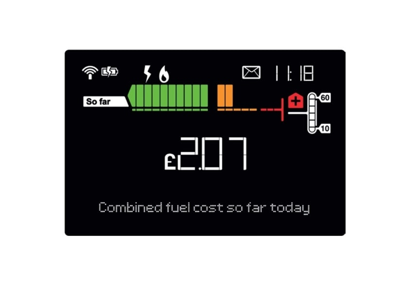A smart meter that shows energy cost in pounds and pence