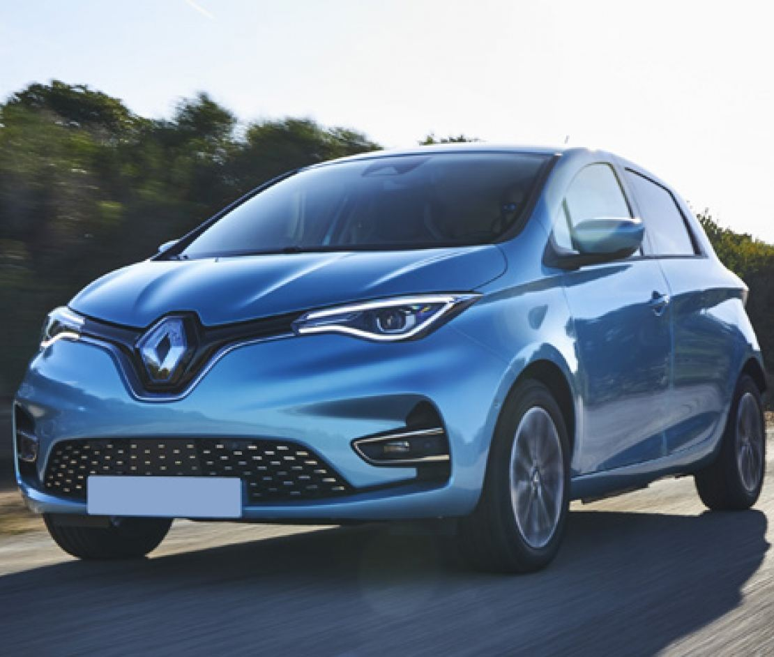 Renault Zoe in blue driving on the road