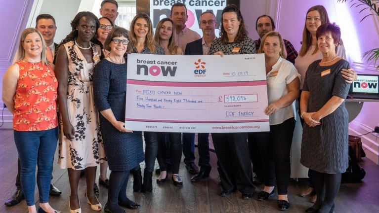 EDF energy cheque presentation for Breast Cancer Now charity partnership