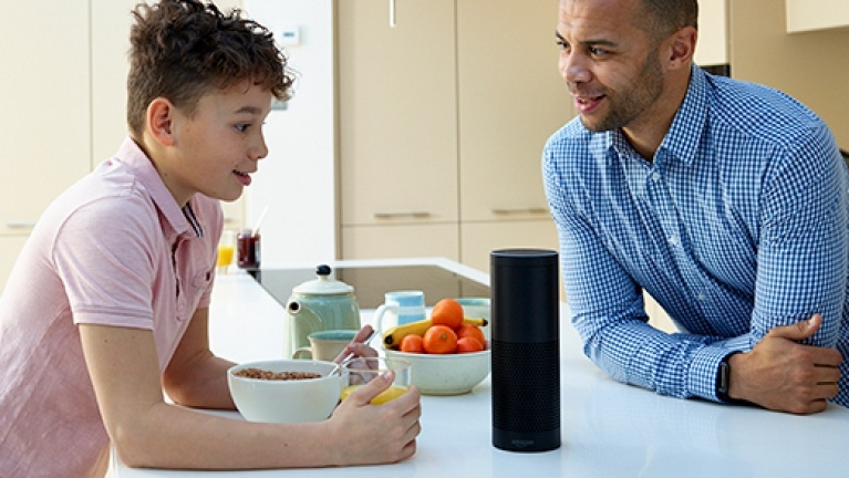 Amazon Echo on kitchen worktop