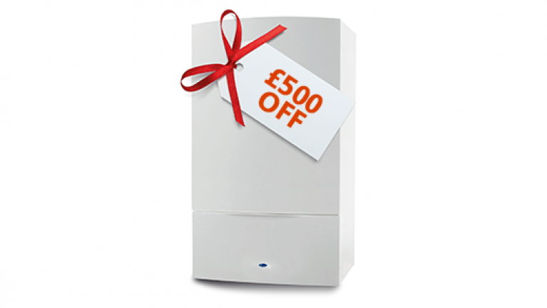 Replacement boiler offer - Image of boiler with £500 off label -