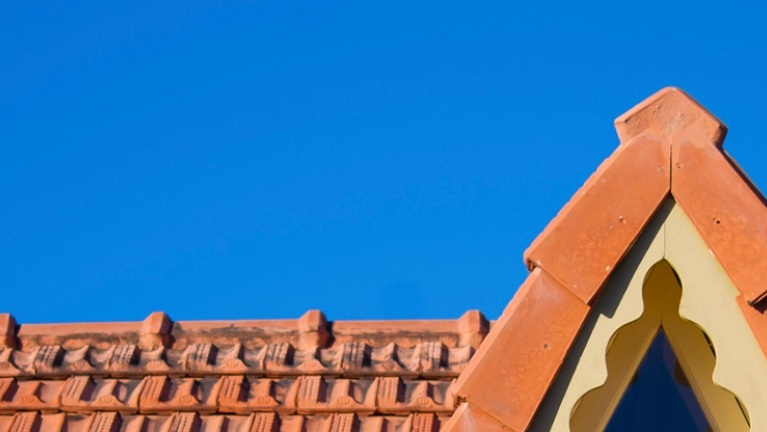 a roof clad with red tiles