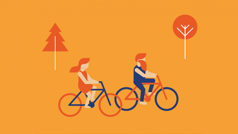 Smart meter benefits - Couple cycling graphic