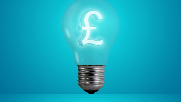 a lightbulb with a glowing pound symbol within