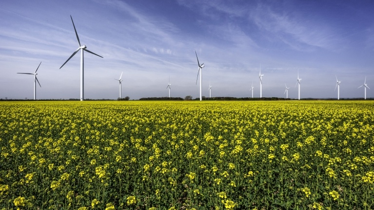 Wind farm showing wind turbines