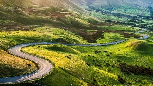 long winding countryside road