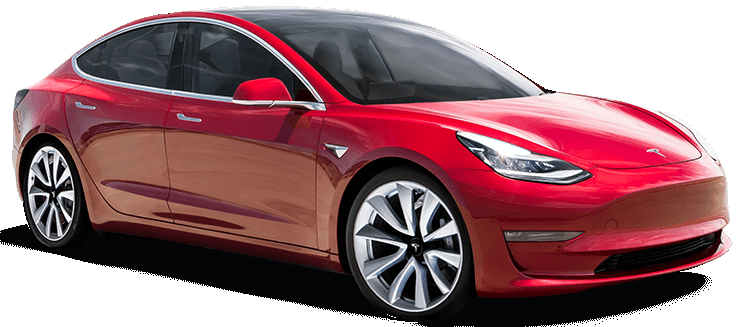 tesla model 3 in red 3/4 angle