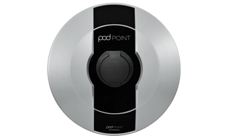 Pod Point Solo socket charger on a transparent background