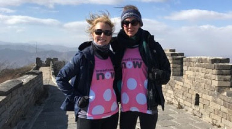 Emma and Louise from EDF on the Great Wall of China