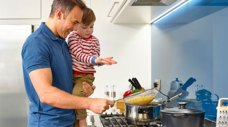 Man and boy cooking - Improve your EPC rating